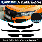 Chrome Delete Blackout Overlay For 2016-2021 Civic Front Grill Hood Trim Matte