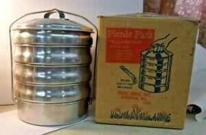 Vintage REGAL WARE Aluminum Stackable PICNIC PACK Food Carrier Set & Box