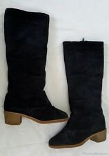 Vintage Thom McAn Blue Suede Knee High Tall Shearling Lined Boots Womens 7 USA