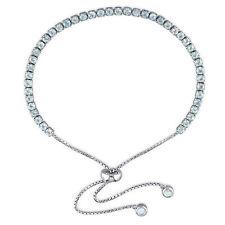 Amour Sterling Silver Blue Topaz Tassel Bolo Bracelet