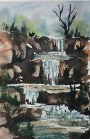 Original (6x4 inch) Painting ' Triple Waterfall ' by Bill Lupton