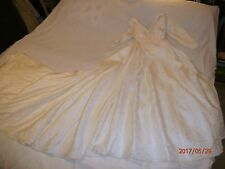 Wedding Dress Off Shoulder Bow Back Train Pearl Bead Trim Lovely Long Sleeve Sm