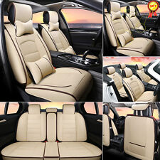 Deluxe PU leather Full Car Seat Cover 5-Seats Front+Rear Cushion W/Pillow Size L