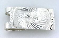 1 4/5 x 4/5 Inch Diamond Cut Swirl Engraved Pure .925 Sterling Silver Money Clip