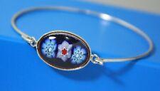 Sterling Silver 925 Elegant Bangle Bracelet Milfiore Glass