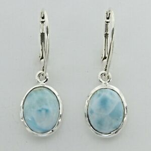 Natural, Oval Blue LARIMAR Earrings 925 STERLING SILVER - Leverback #534e