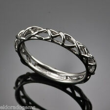 HEARTS ON FIRE BROCADE FILIGREE WEDDING BAND 18K WHITE GOLD RING SIZE US6
