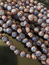 150 pcs purple Millefiori Art glass Beads Jewelry Making Supply lot