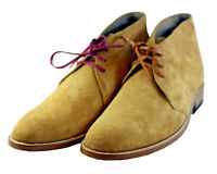 Men Latest Simple Chukka Real Leather Boots with Leather Laces, bottes hommes