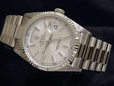 Men Rolex Solid 18KT 18K White Gold Day Date President Watch w/Silver Dial 18239