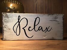New Listingrelax Rustic Wood Sign Farmhouse Style Inspirational Quote Distressed