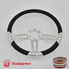 14'' billet Satin steering wheel Black Full wrap Ford GM Corvair Impala Chevy II
