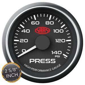 """SAAS Muscle Series 2-5/8""""Oil Pressure Gauge 0-140 Psi Black SG-OP258B"""