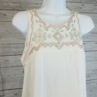 Tasha Polizzi Womens Tunic Top Sz Small Ivory Pink Embroidered Pockets