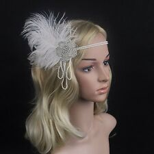 Crystal 1920s Flapper Headband FEATHER Vintage Fascinator Headpiece Racing