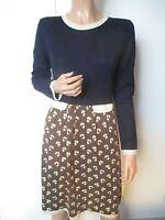 Orla Kiely S:3 UK:12 100% Merino Wool Fine Knit Blue Floral Jumper Dress