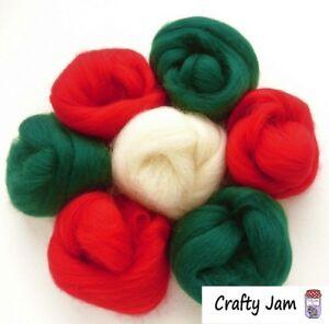 Needle Felting Christmas Xmas Shades Felting Wool Rovings 46g