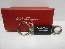 "Salvatore Ferragamo Key Ring Chain Leather Black Silver-Tone Italy 4"" long box"