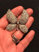 Signed Vendome Rare Crystal Butterfly Brooch Vintage Insect Rhinestone