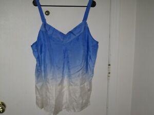 APOSTROPHE WOMAN BLUE/WHITE 100% SILK FASHION CAMI -- SIZE 16/18W -- NEW!!!