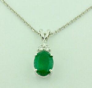 2.10 ct 14k White Gold Natural Diamond & Zambian Oval Emerald Pendant