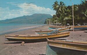Caribbean Postcard-Mont Pelee From Fishing Village of Corbat, Martinique RS24735