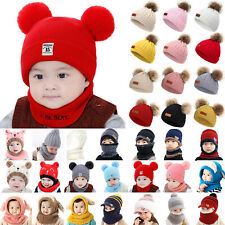 Kids Baby Boy Girls Beanie Hat Winter Warm Pom Pom Bobble Knitted Cap  Xmas Gift
