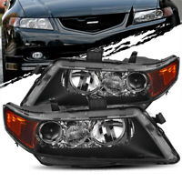 For 04-05 Acura TSX Black Projector Headlights Assembly Replacement Left/Right