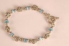 Vintage Blue Cat Eye Sterling Silver Toggle Tennis Bracelet