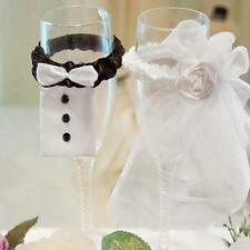 2 PCS Wedding Party Toasting Wine Glasses Decor Bride & Groom Tux Bridal Veil LJ