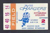 1967 AFL NFL PITTSBURGH STEELERS @ SAN DIEGO CHARGERS FOOTBALL TICKET STUB