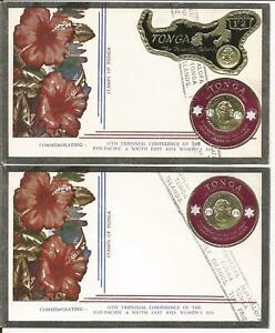 TONGA COIN MAP SOUTH EAST ASIA WOMAN ASSOCIATION ANNIVERSARY COVER