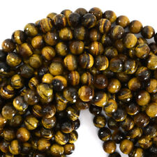 "Faceted Tiger Eye Round Beads Gemstone 15"" Strand 4mm 6mm 8mm 10mm 12mm"