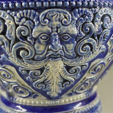 Grosser Deckel- Krug Westerwald, blaue Salzglasur, Bartmannkrug, 36,5 cm hoch