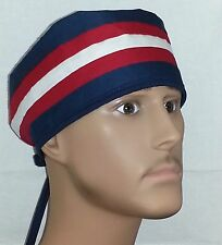 SURGICAL SCRUB HAT THEATRE CAP RED WHITE BLUE STRIPE PATRIOT JULY 4 TIE IN BACK