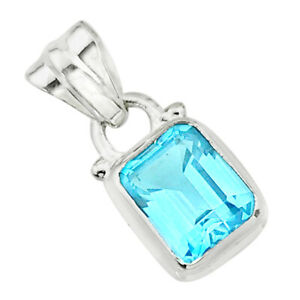 925 Sterling Silver 2.80cts Natural Blue Topaz Pendant Jewelry T24039