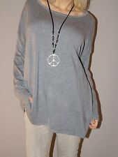 NEU Feinstrick Pullover 20% Kaschmir Blogger Weich Oversize M 38 - 44 XL Grau