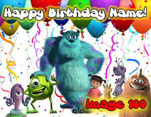 Monsters Incorporated University edible Cake topper picture sugar Birthday paper