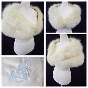 Vintage Arctic Fox Fur Stole Ivory Wedding Hidden Pockets Marlene D Embroidered