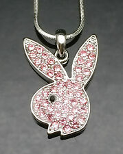Silver Pink Crystal PLAYBOY BUNNY Pendant Necklace Swarovski Rabbit Girl Gift