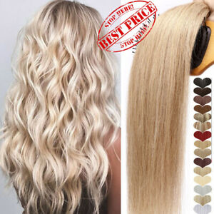 Double Weft Clip In Real Remy Human Hair Extensions Thick Full Head Blonde Ombre