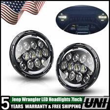 2 7Inch Round 156W Built.LED Headlights Hi/Lo 97-18 For JEEP JK TJ LJ Wrangler