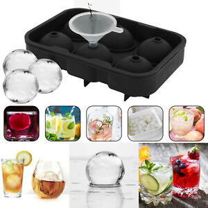 6 Large Round Ice Balls Maker Whiskey Cube Sphere Molds Tray Cocktails