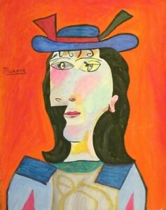 Vintage Abstract Canvas Signed Pablo Picasso,  Modern  Art  20th Century
