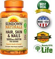 HAIR SKIN NAILS VITAMINS Biotin 5000 mcg 120 Tablets Health Beauty Supplement