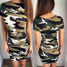 AU Womens Camouflage Camo Summer Mini Dress Army Print Bodycon Long Tops Dresses