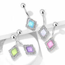 Diamond-Shaped Filigree Edge Illuminating Stone Belly Ring Naval Piercing Navel