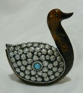 Vintage Carved wood Duck with metal studded Overlay