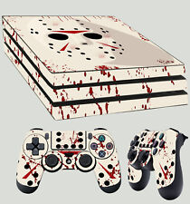 PS4 Pro Skin Jason Mask Friday 13th Horror Bloody Sticker + 2 X Pad decals Vinyl