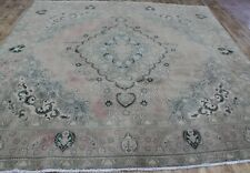 Antique Persian Tabriz Overdyed Carpet 10'4 x 10 FT Hand Knotted Wool Carpet